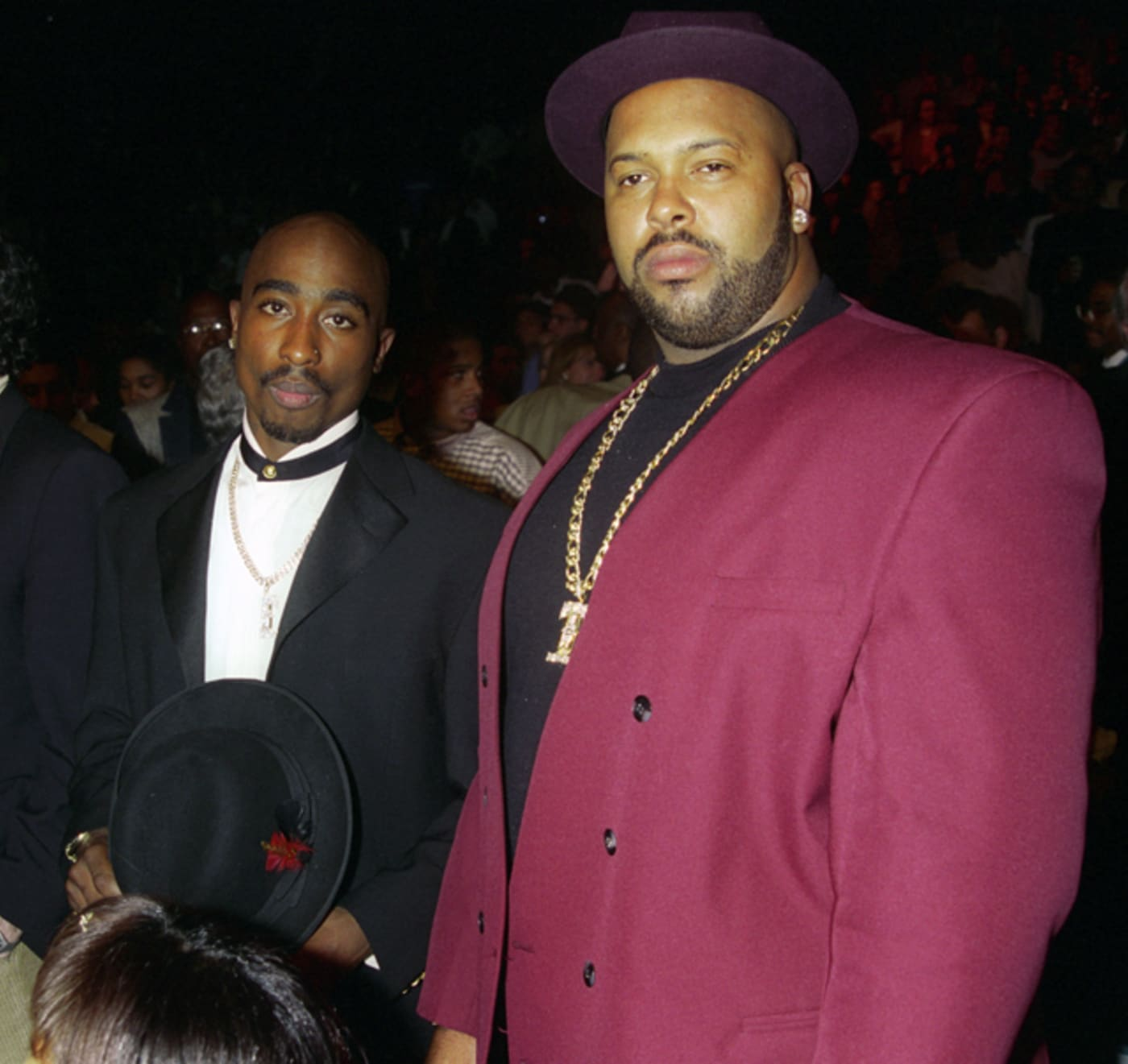 2Pac, Suge Knight (l r) at Tyson vs. Bruno at the MGM Grand Garden Arena Backstage and Ringside