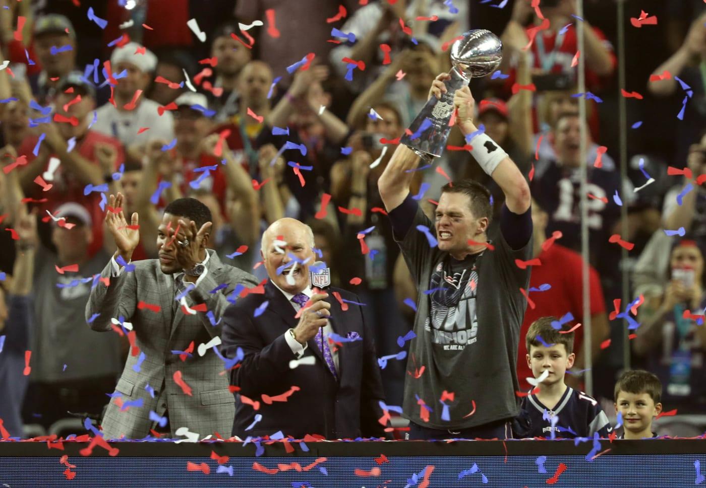 Tom Brady Vince Lombardi Trophy Super Bowl LI Podium