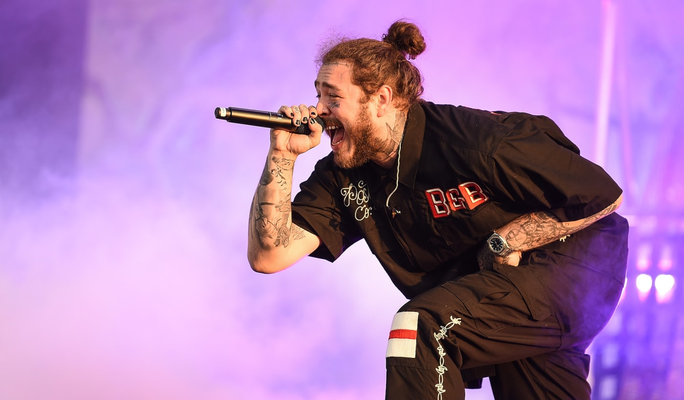 Post Malone performing in 2018