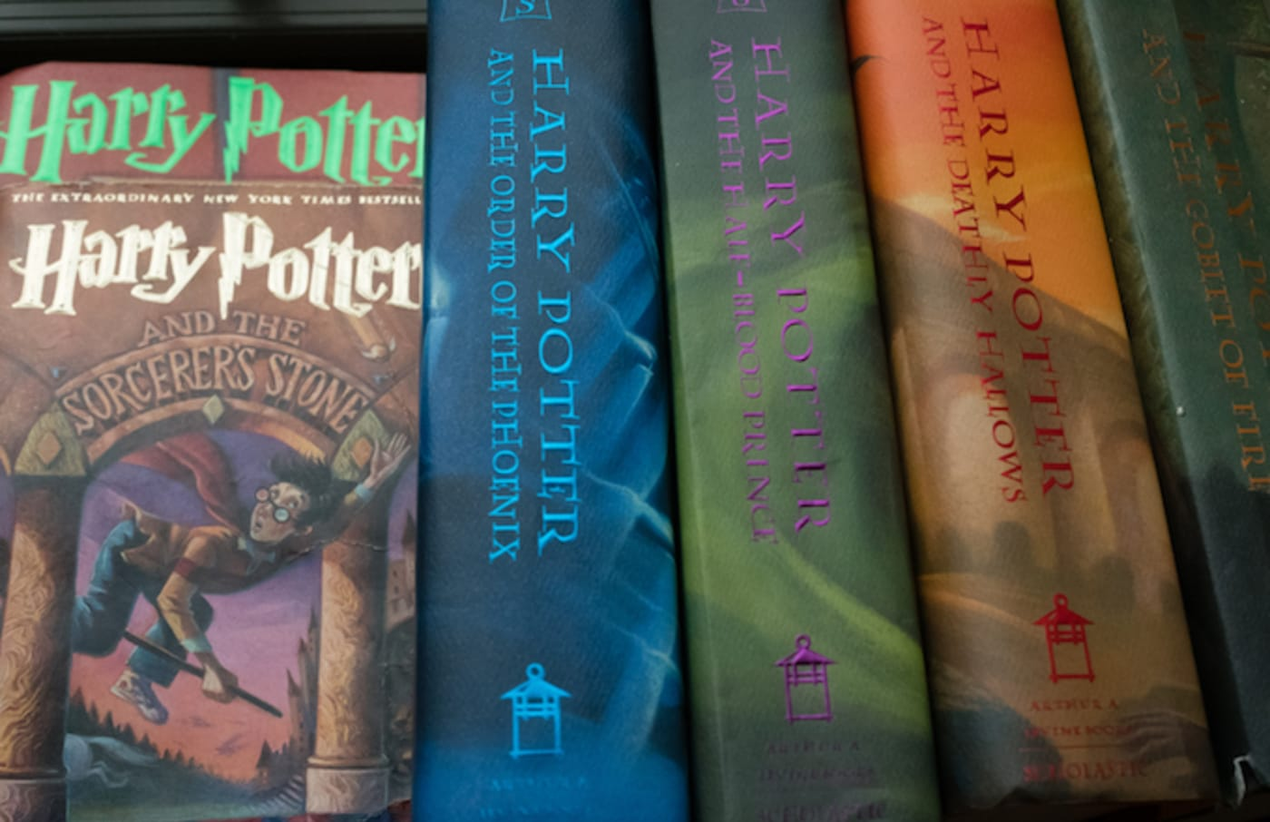 A collection of Harry Potter books.