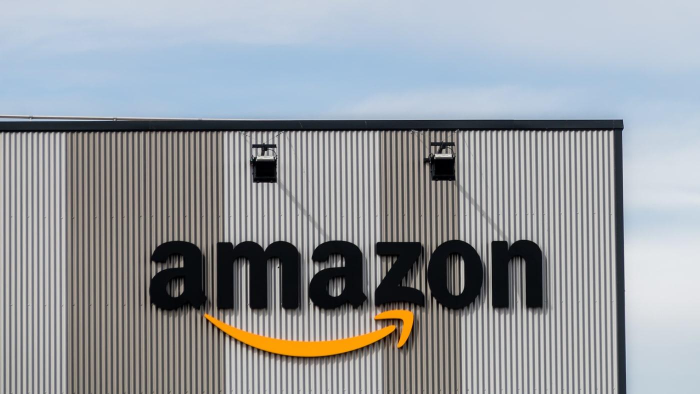 Amazon logo at a logistic centre.