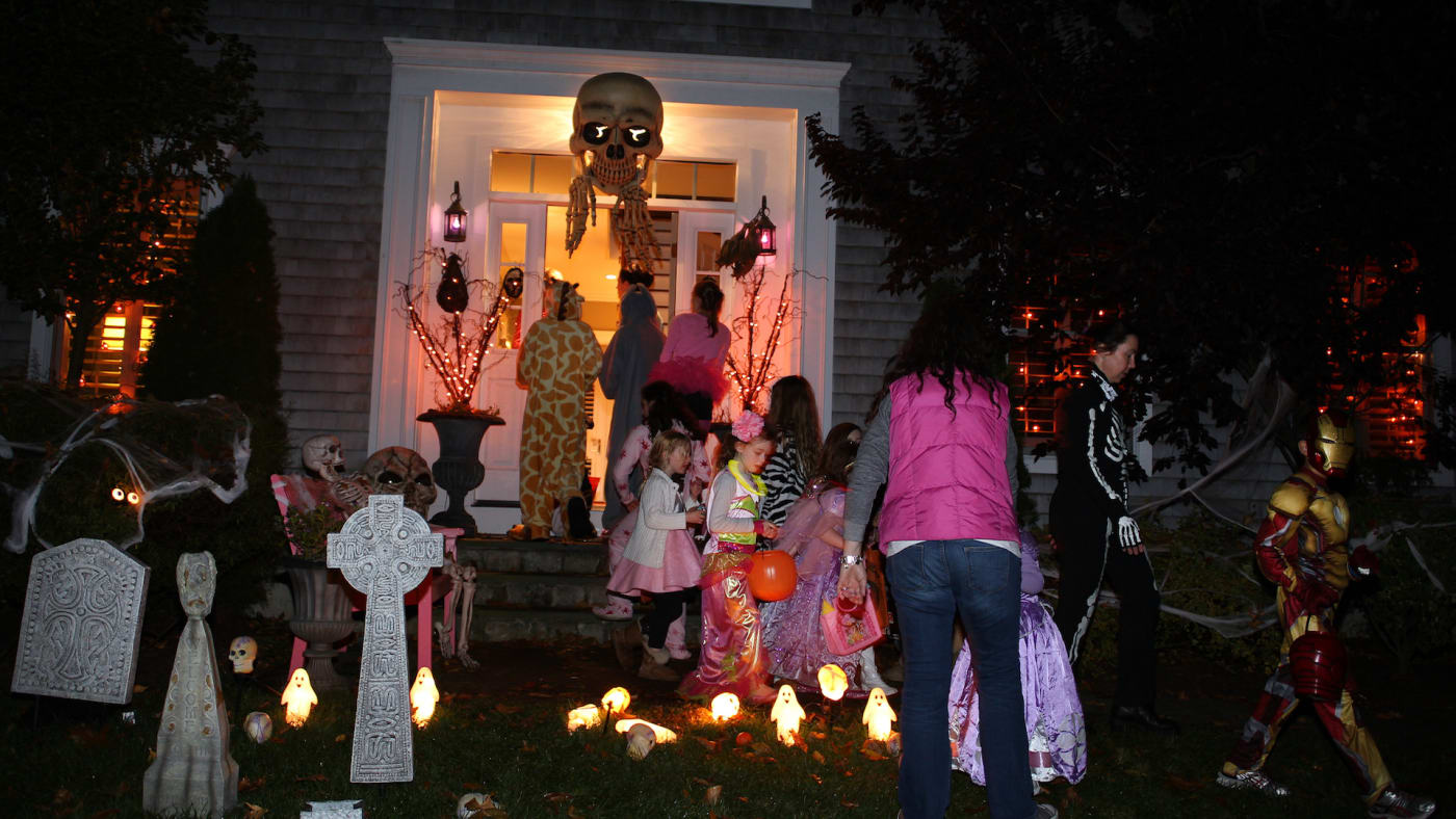 Children trick or treating on Halloween night in New Canaan, Connecticut.