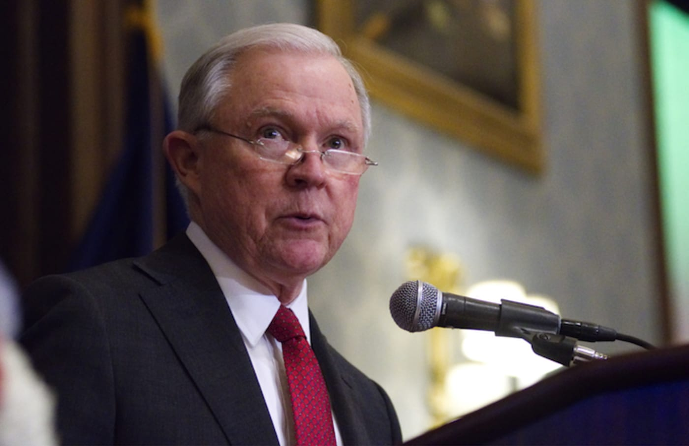 Jeff Sessions delivers remarks in the Lincoln Hall of Union League of Philadelphia.