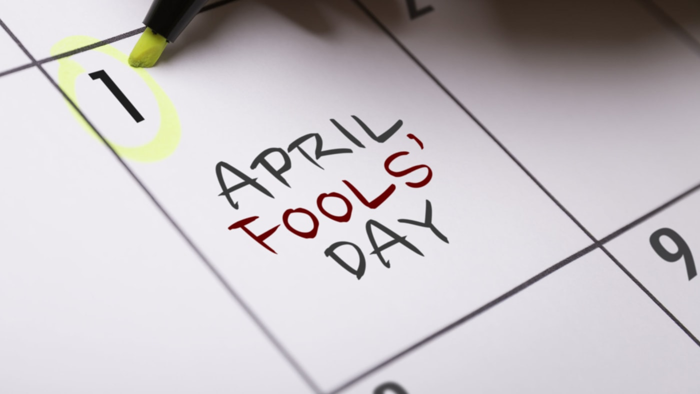April Fools' Day circled on the calendar.