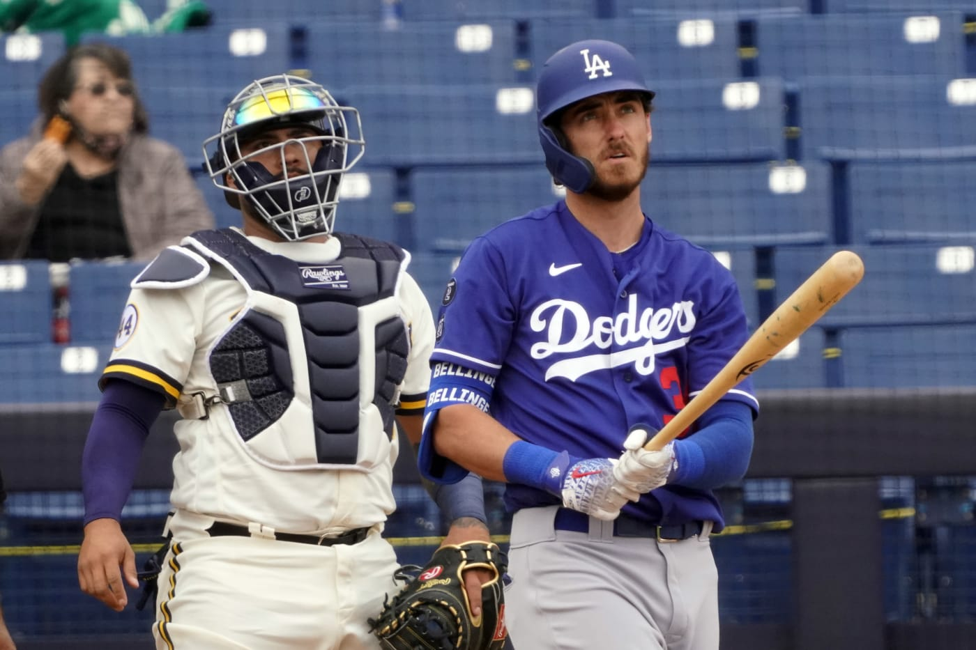 Cody Bellinger Dodgers Brewers Spring Training 1 2021