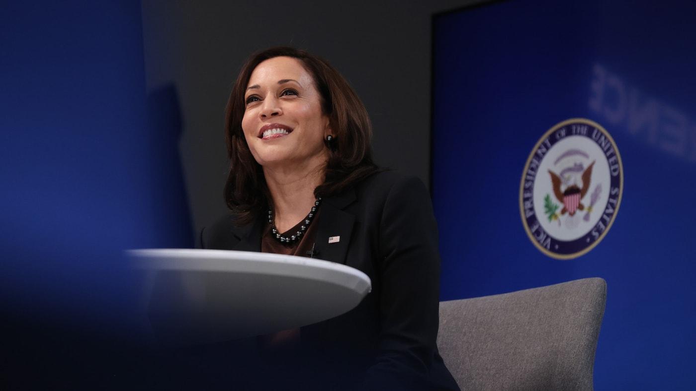 U.S. Vice President Kamala Harris delivers remarks