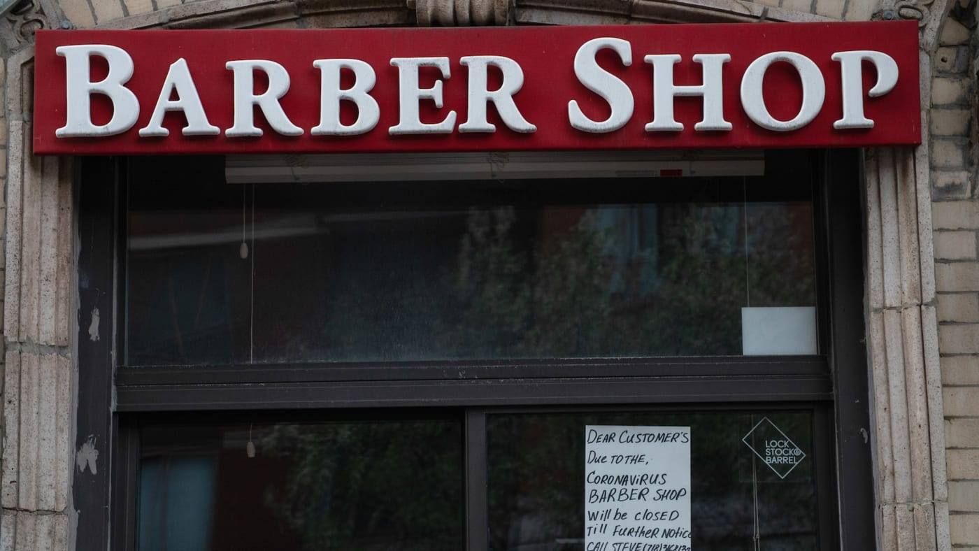 A view of a closed barbershop in Manhattan