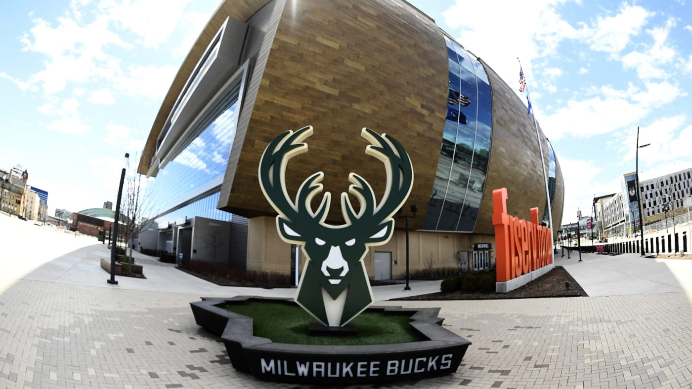 A general view of the exterior of the Fiserv Forum, home of the Milwaukee Bucks.