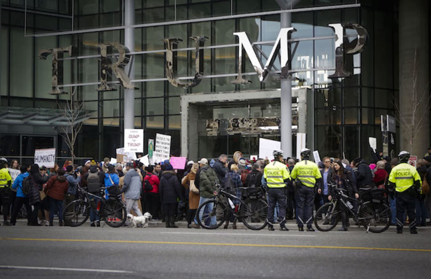 A protest outside a Trump building in Vancouver.