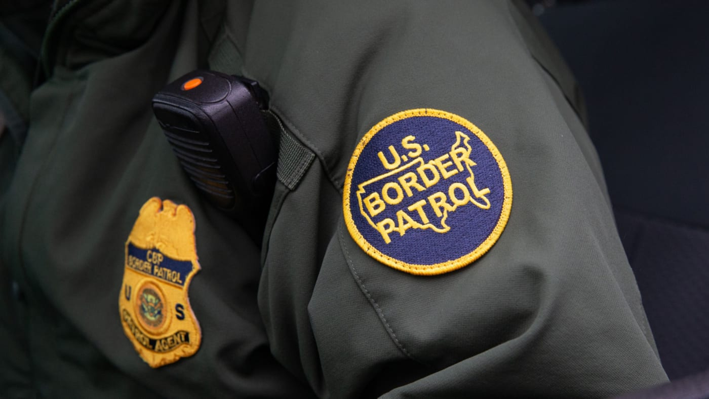 This photo shows US Border Patrol patch on a border agent's uniform in McAllen, Texas.