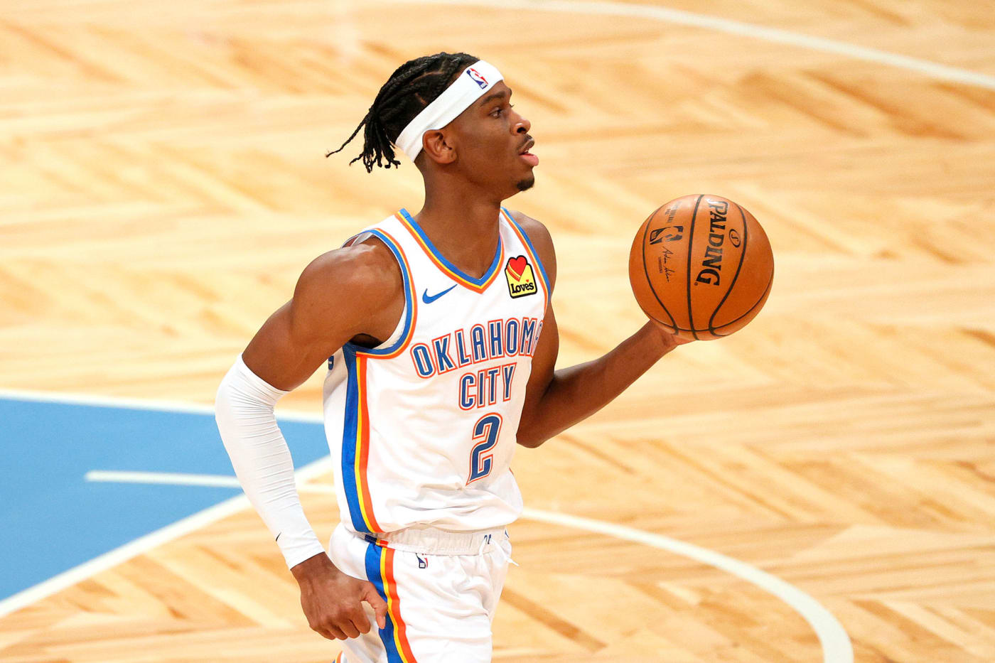 Shai Gilgeous Alexander #2 of the Oklahoma City Thunder dribbles during the first half against the Brooklyn Nets