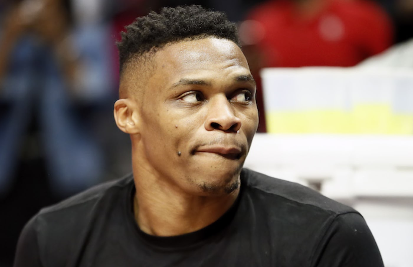 Russell Westbrook looks on during the game against the LA Clippers.