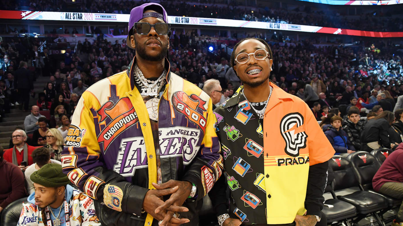 2 Chainz (L) and Quavo attend the 69th NBA All Star Game
