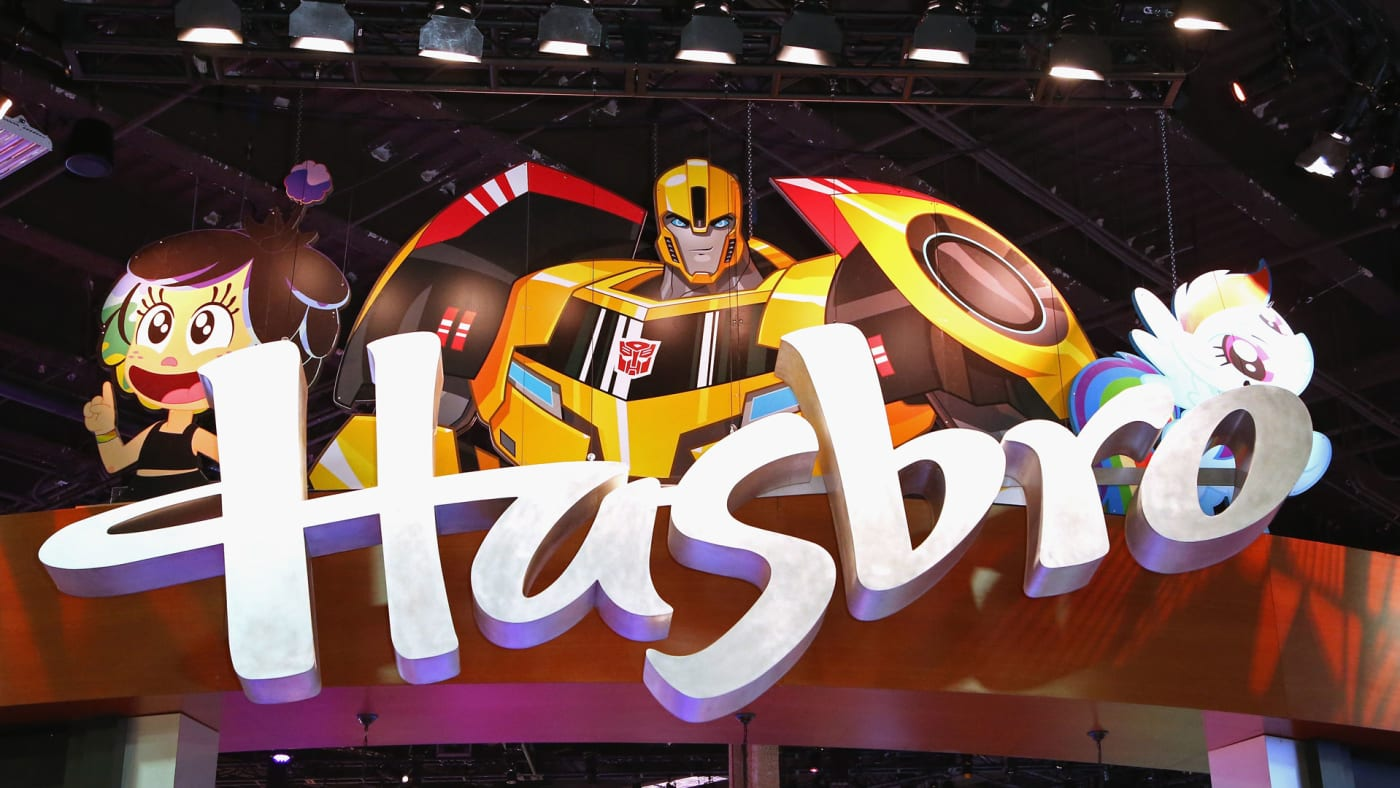 A Hasbro sign hangs above the Hasbro booth at the Licensing Expo 2016.