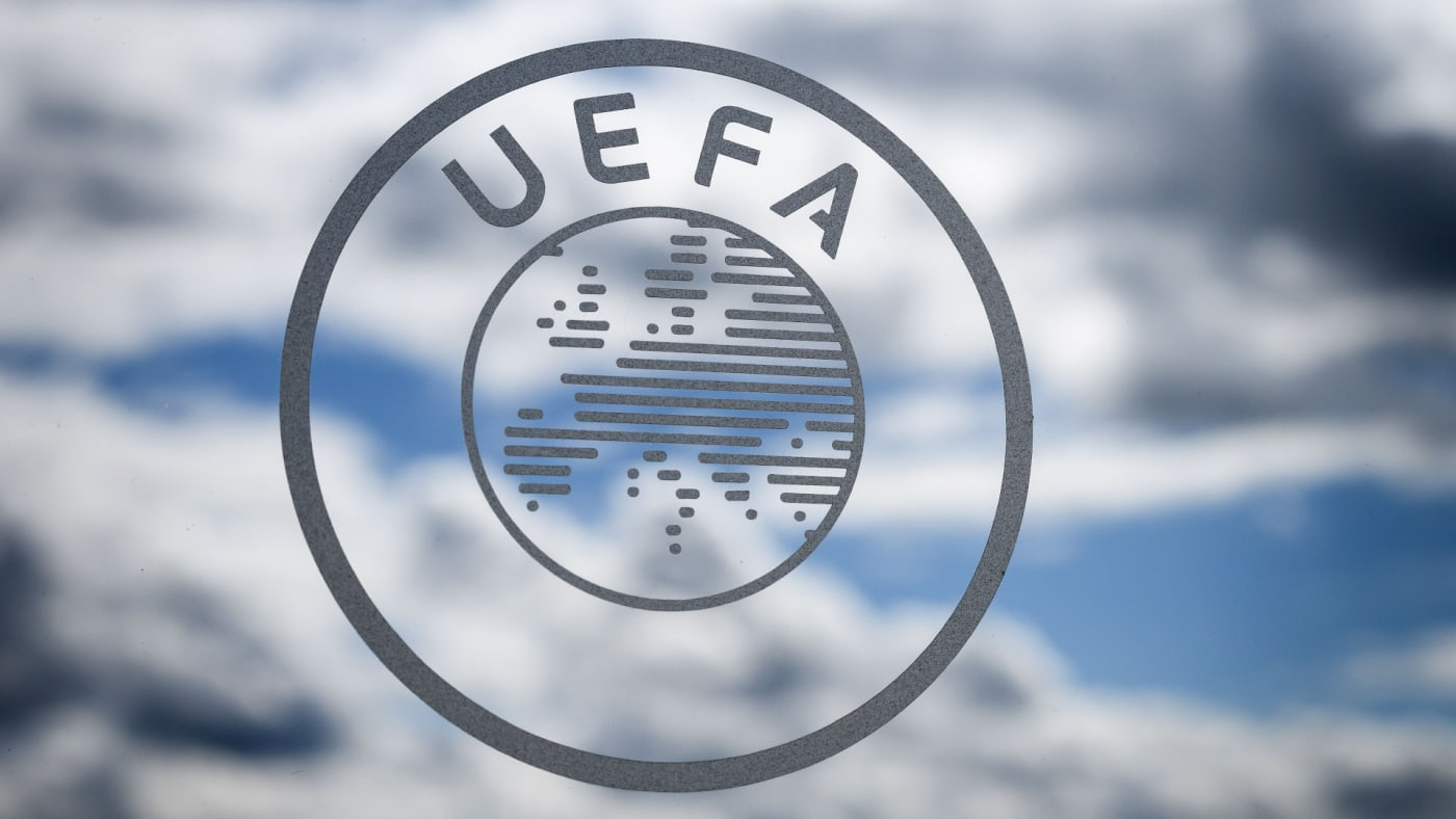 The UEFA logo is seen during the draw for the semi-finals round of the UEFA Champions League.