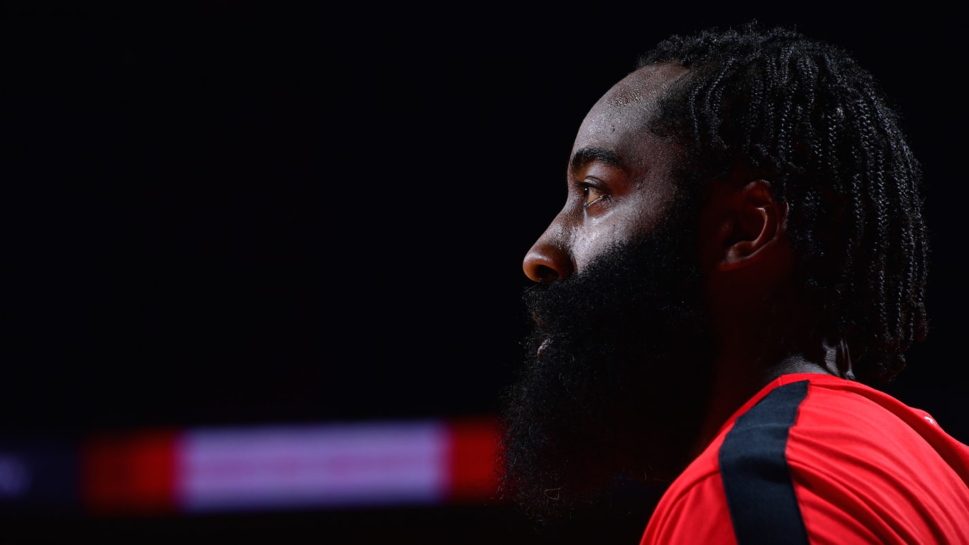 James Harden #13 of the Houston Rockets looks on in the game