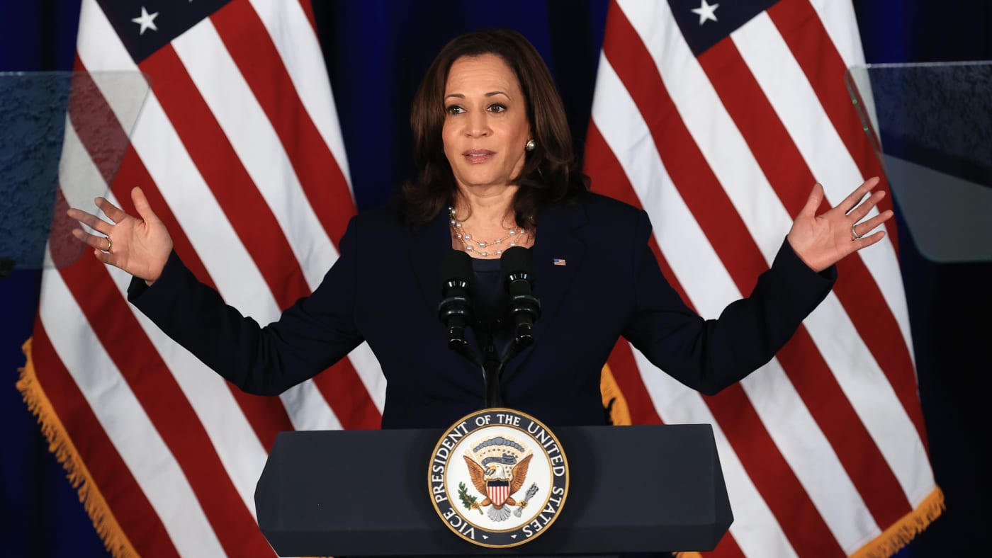 U.S. Vice President Kamala Harris delivers remarks at the Louis Stokes Library.