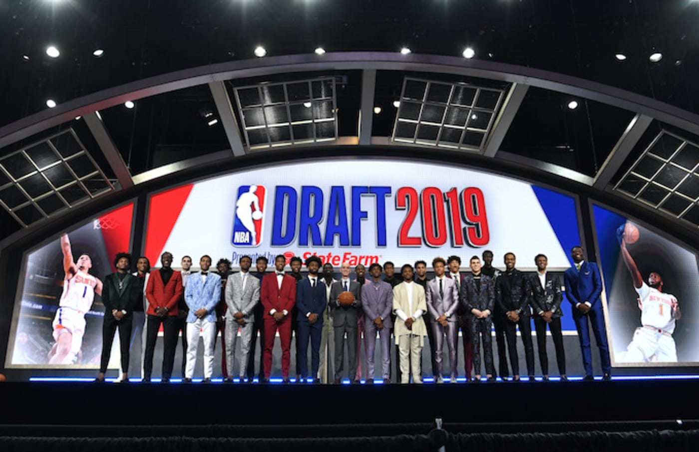 The 2019 NBA Draft prospects stand on stage