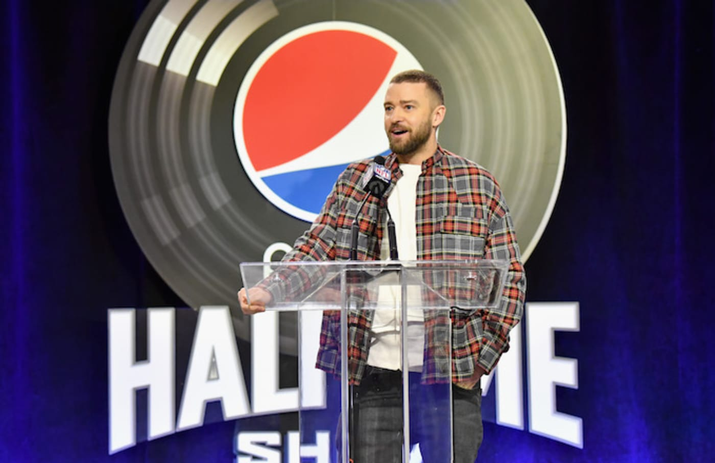 Justin Timberlake speaks at the Pepsi Super Bowl LII Halftime Show Press Conference.
