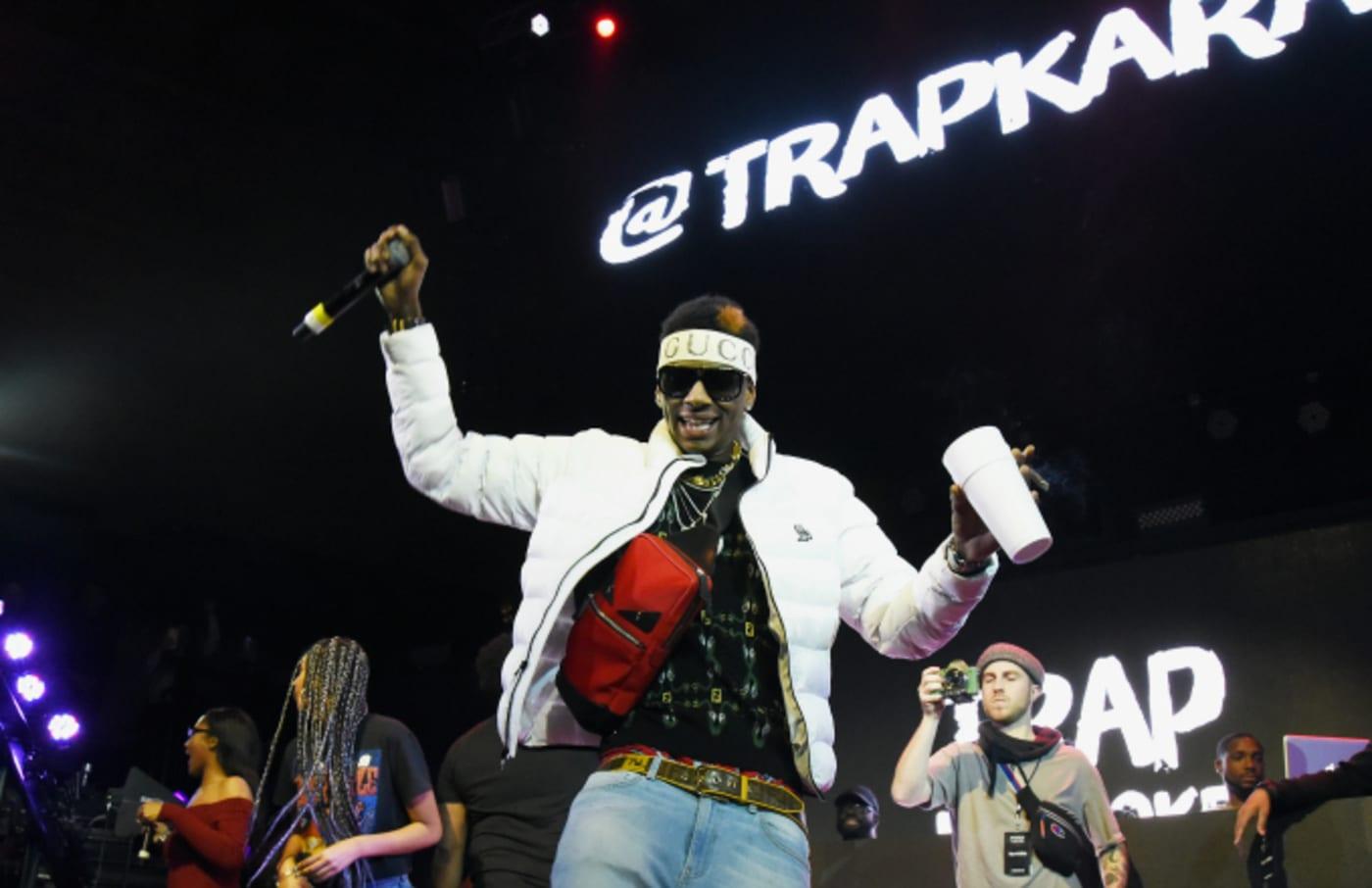 Soulja Boy performs onstage during Pandora Live + Trap Karaoke