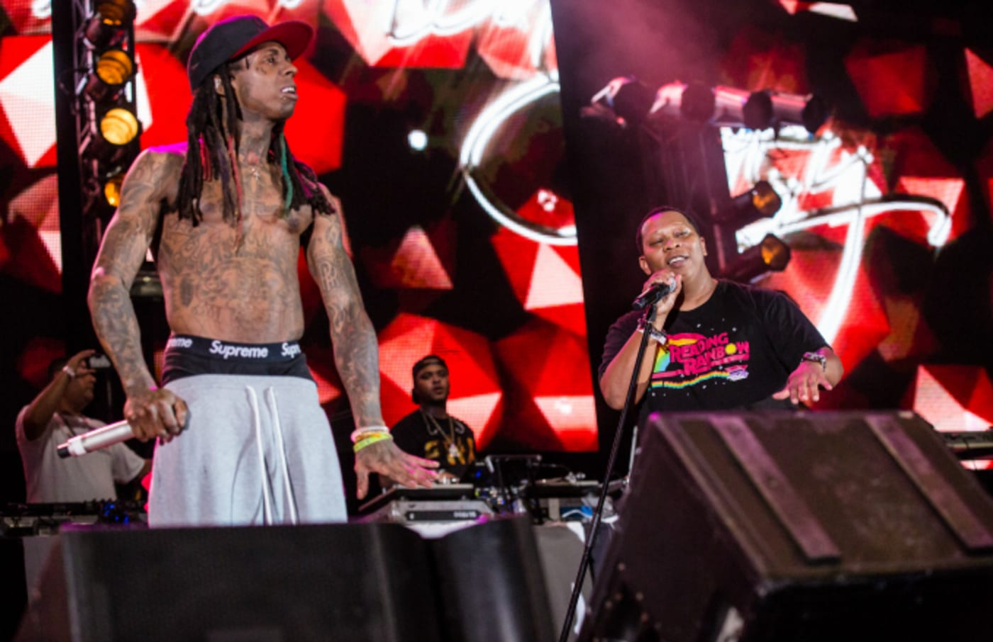Lil Wayne (L) and Mannie Fresh perform at Lil Weezyana Festival