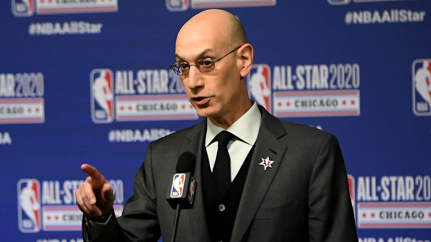 NBA Commissioner Adam Silver speaks to the media during a press conference at the United Center.