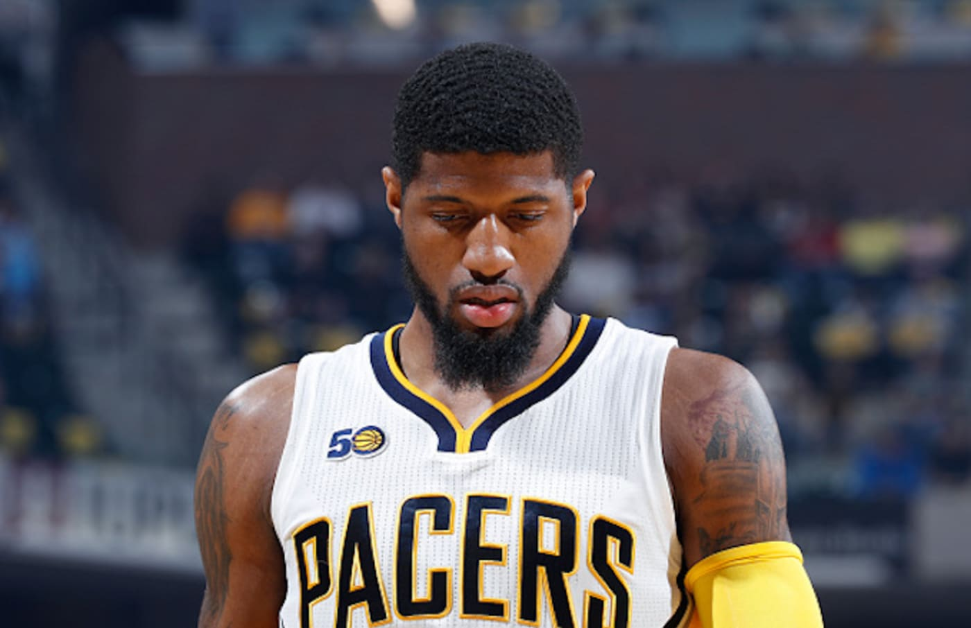 Paul George #13 of the Indiana Pacers reacts against the Cleveland Cavaliers