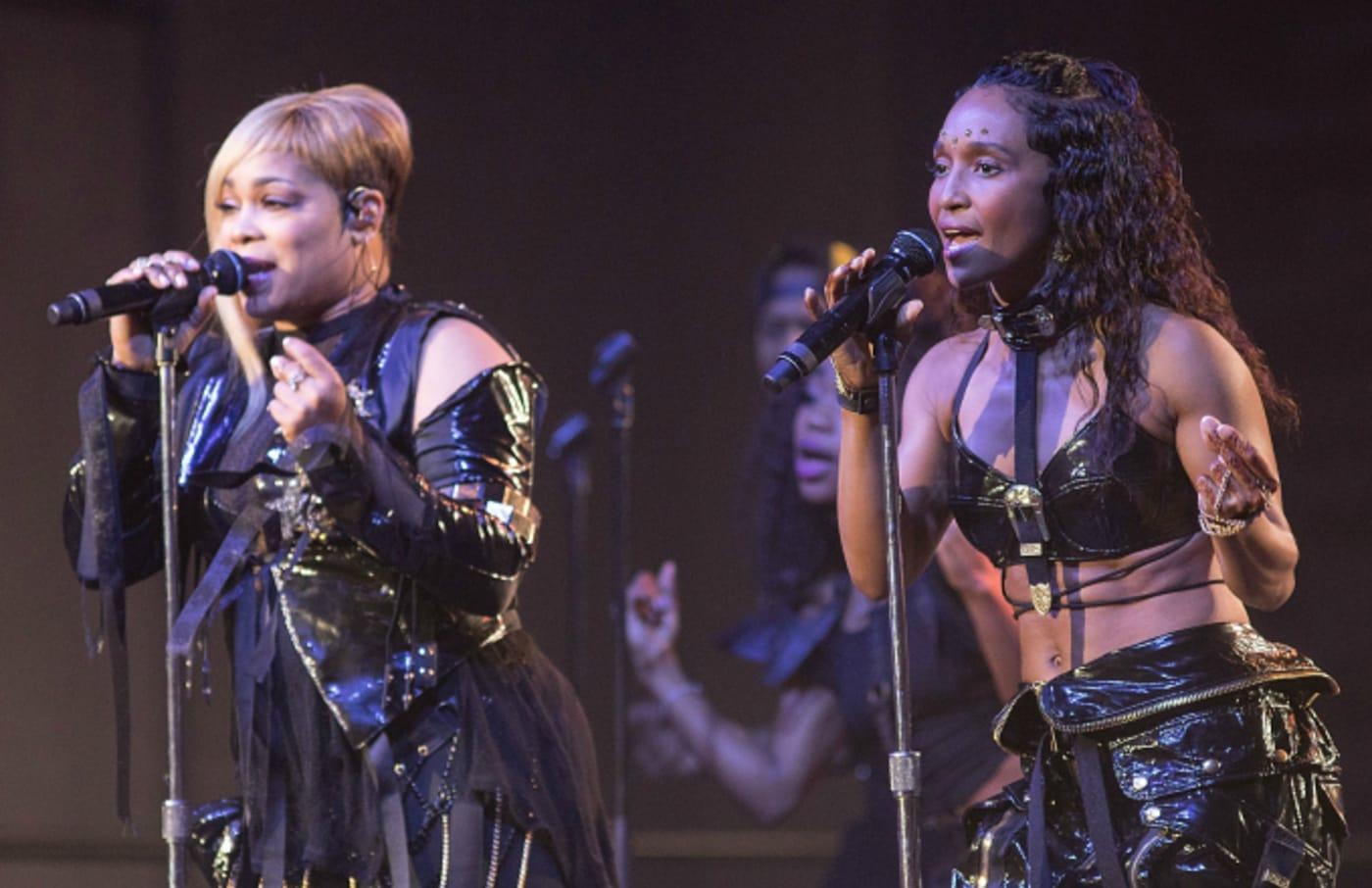 Singers Tionne 'T Boz' Watkins (L) and Rozonda 'Chilli' Thomas of TLC