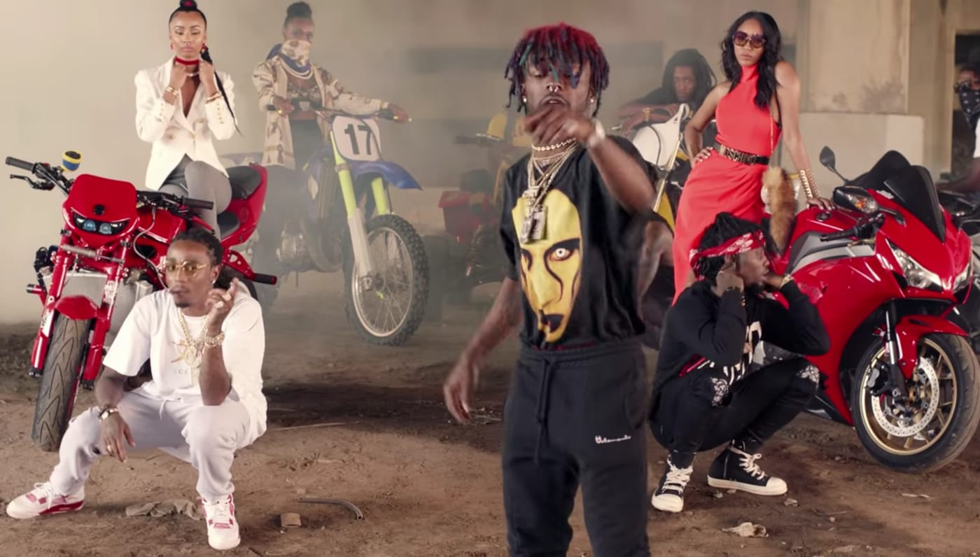 "This is Migos' video for ""Bad and Boujee."""
