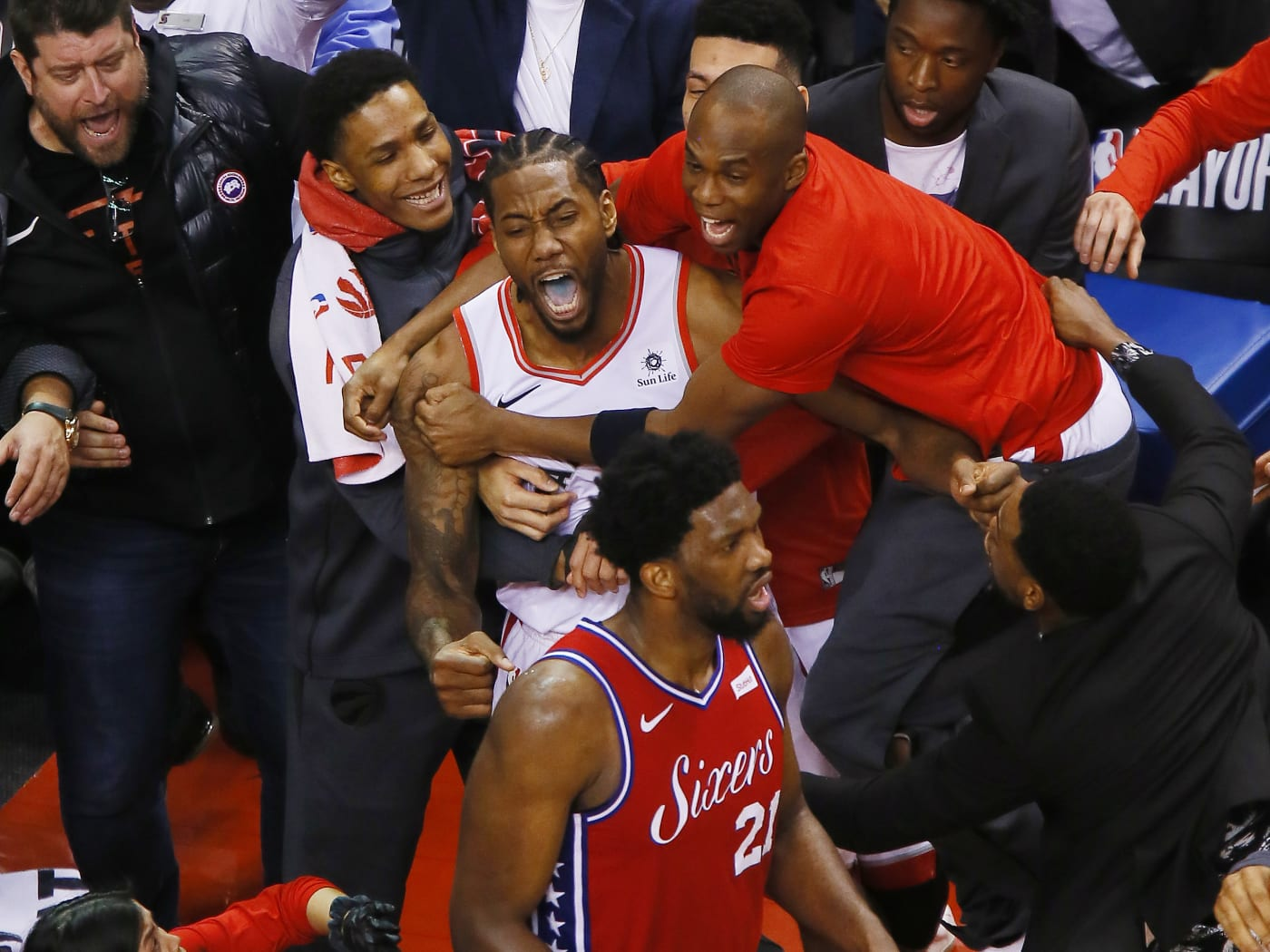 Kawhi Leonard Joel Emiiid Celebration 2019 Game 7 Playoffs