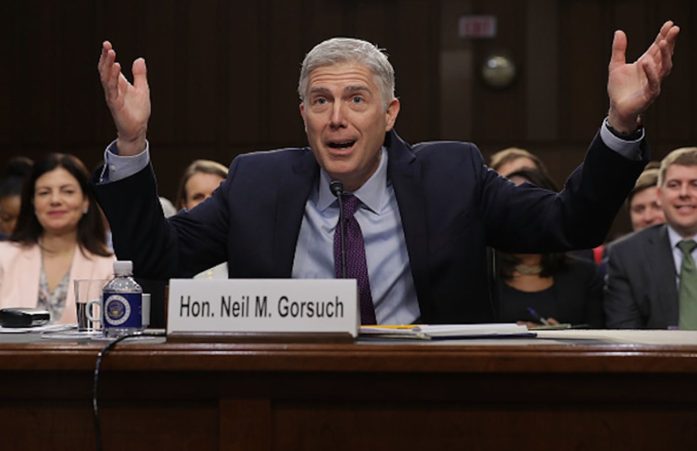 Judge Neil Gorsuch testifies during the second day of his Supreme Court confirmation hearing