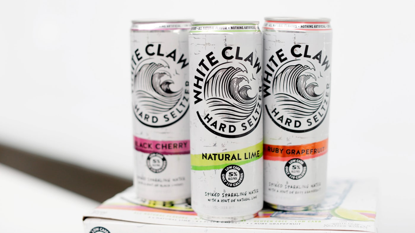 A variety of White Claw Hard Seltzers are seen at the Mike's Hard Lemonade office.