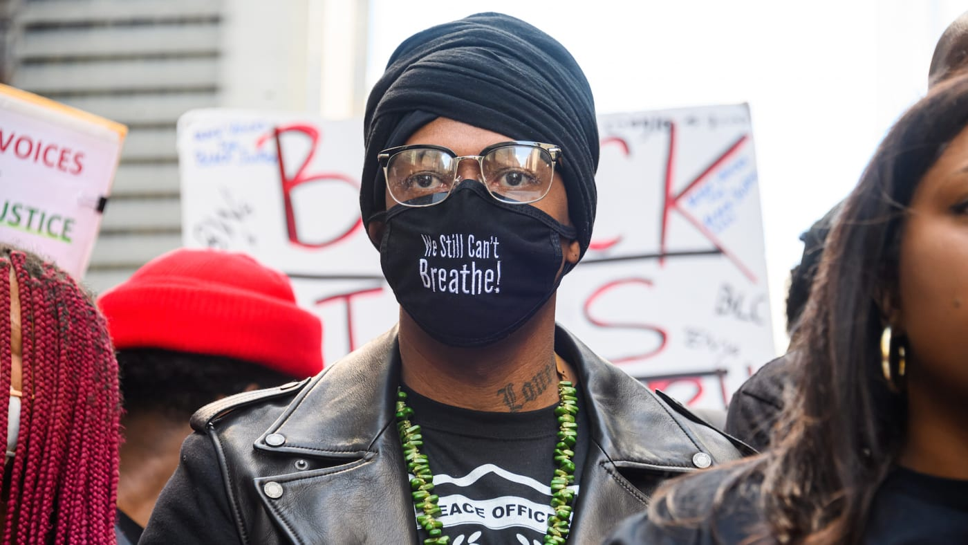 Nick Cannon attends a Black Lives Matter rally