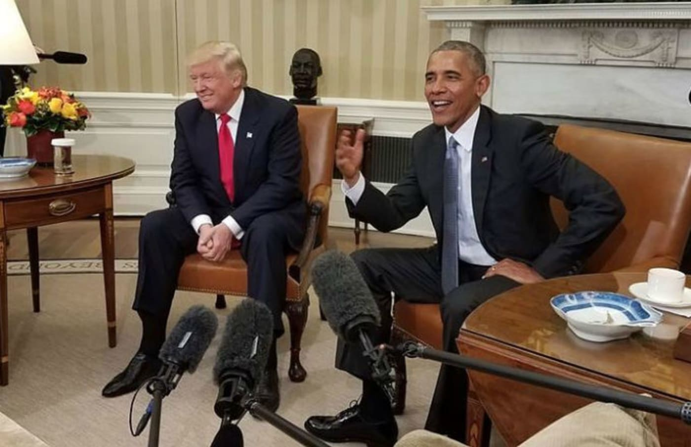 Barack Obama and Donald Trump at White House