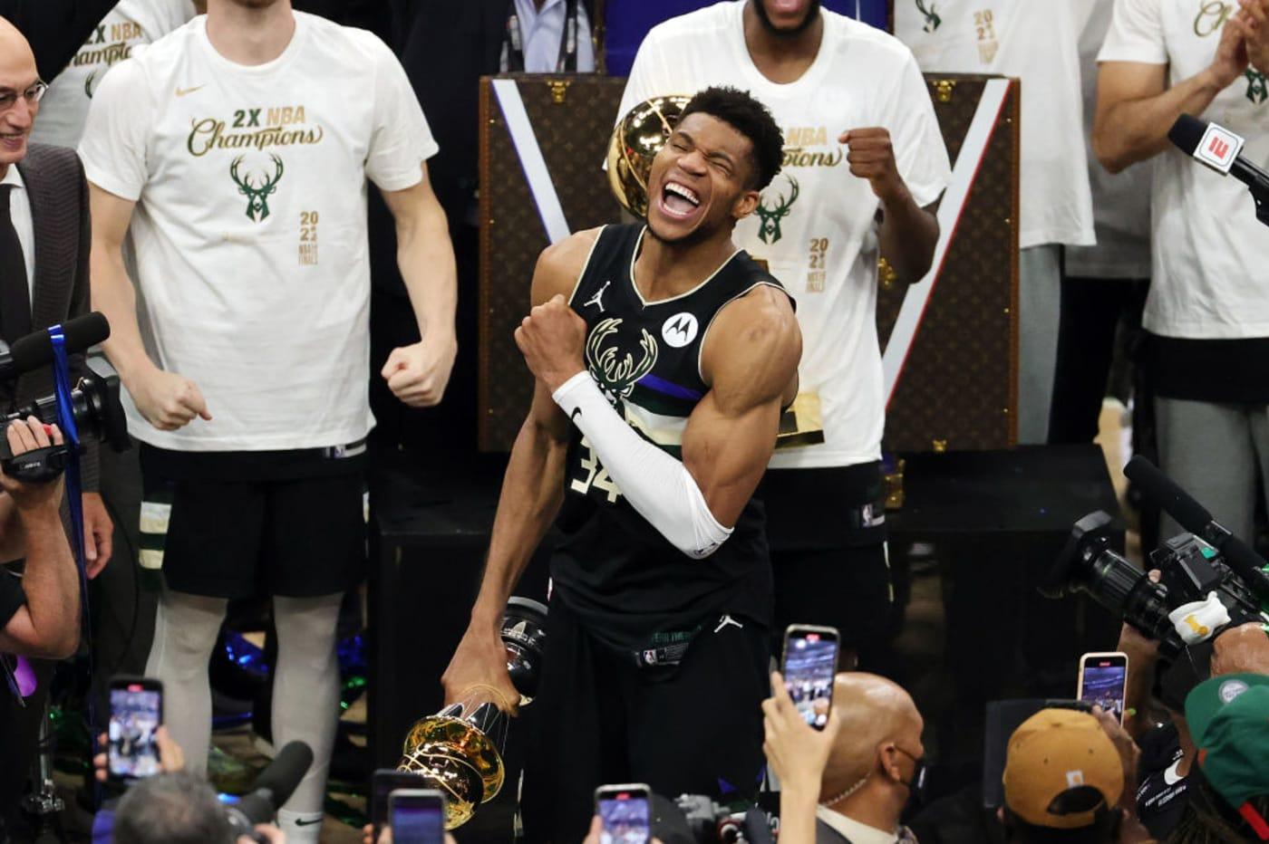 Giannis Antetokounmpo NBA Finals MVP Trophy Game 6 2021