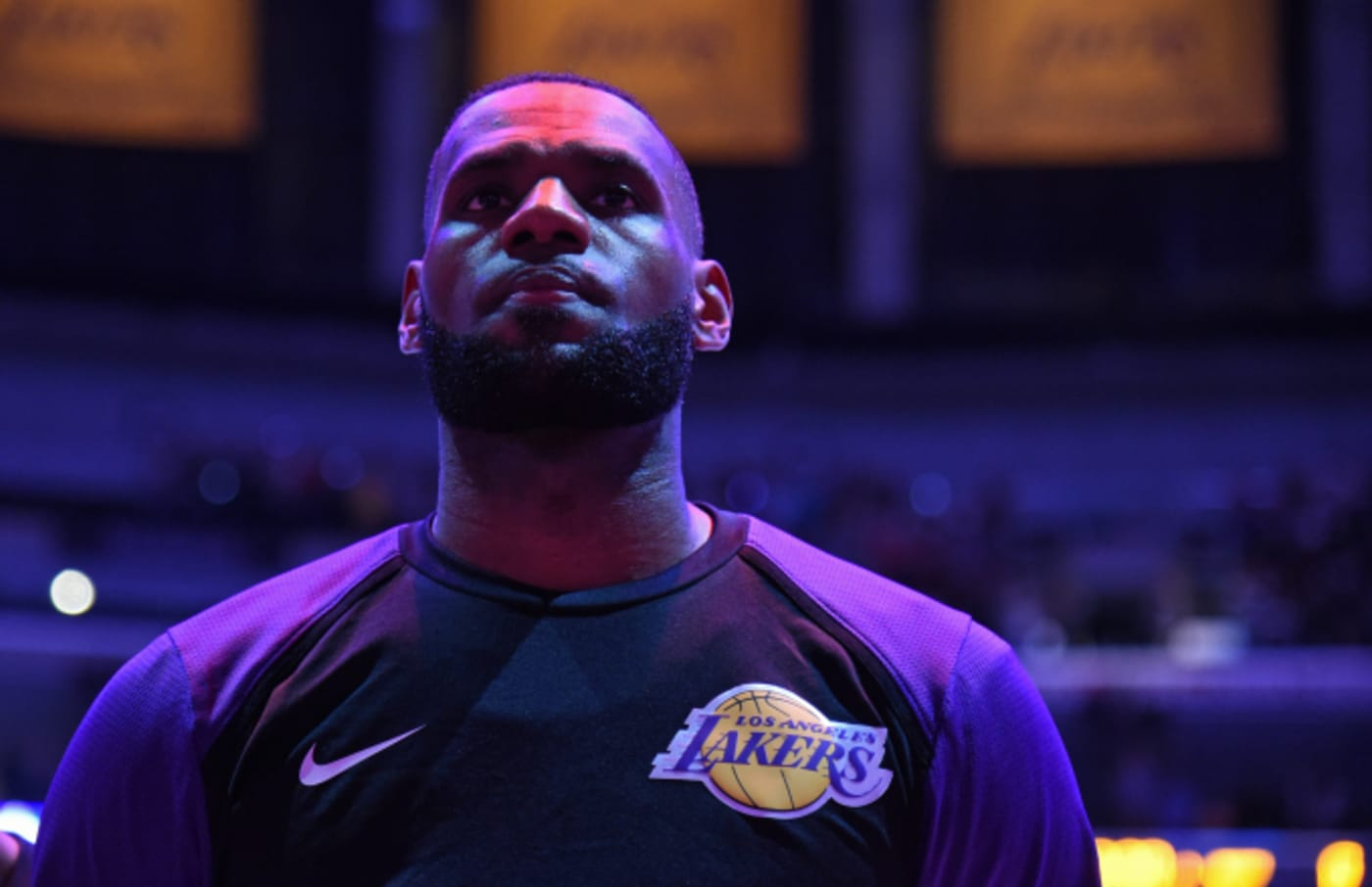 LeBron James is photographed during the national anthem