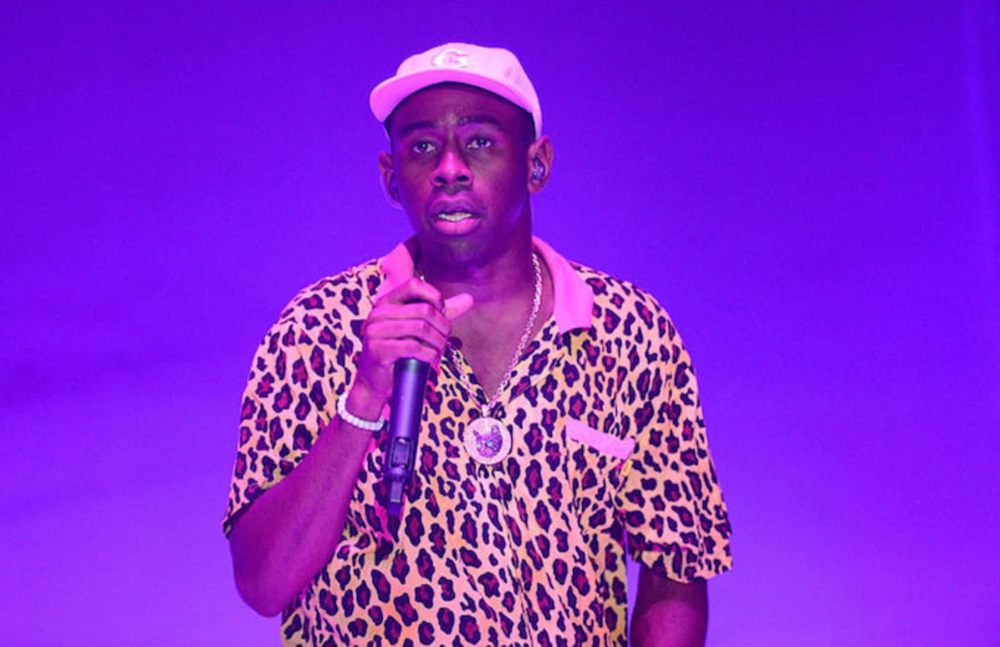 Tyler the Creator (L) performs onstage