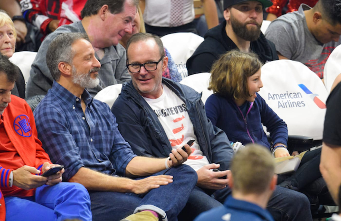 Clark Gregg attends a basketball game between the Utah Jazz and the Los Angeles Clippers.