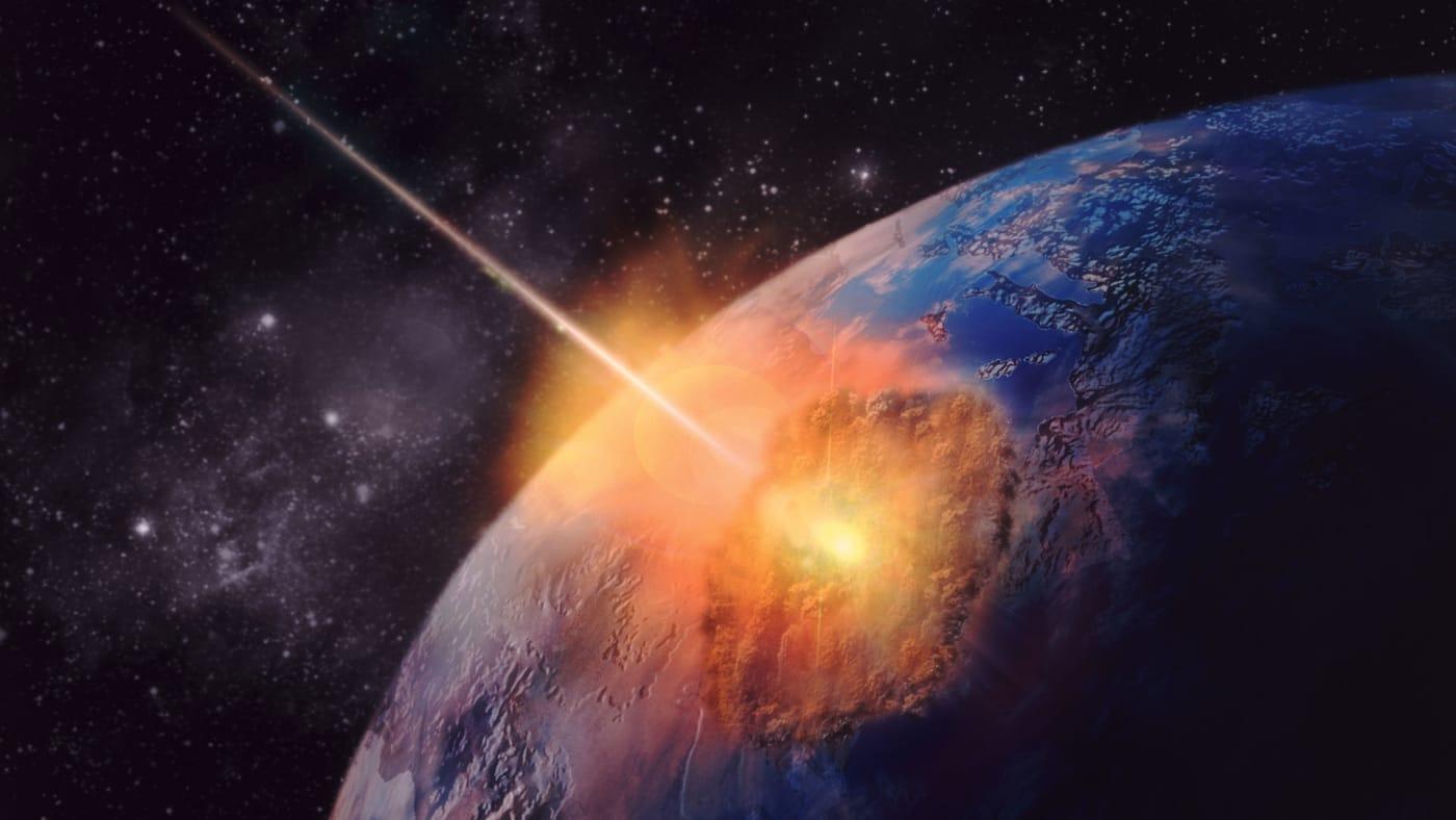 An asteroid strikes earth.