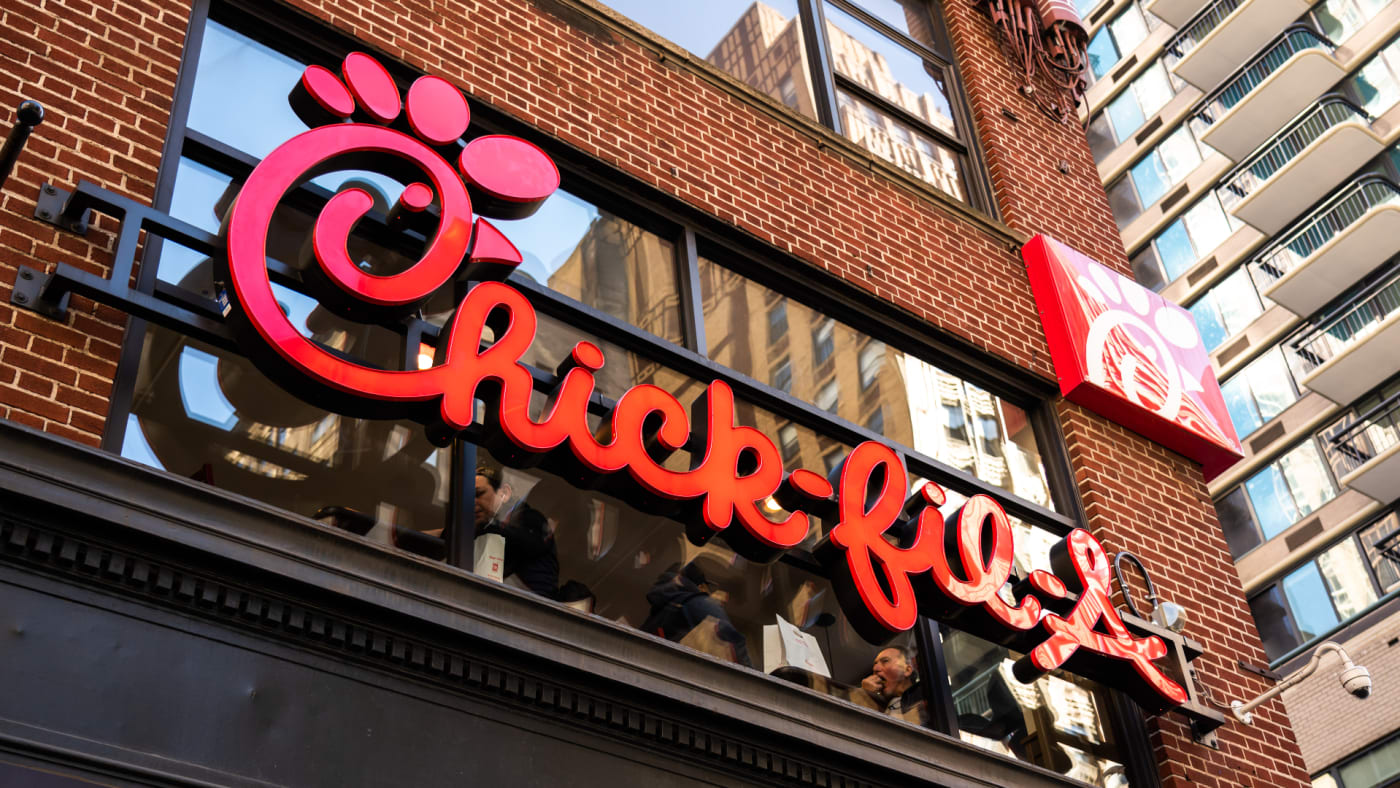 Chick-fil-A logo seen in Midtown Manhattan.