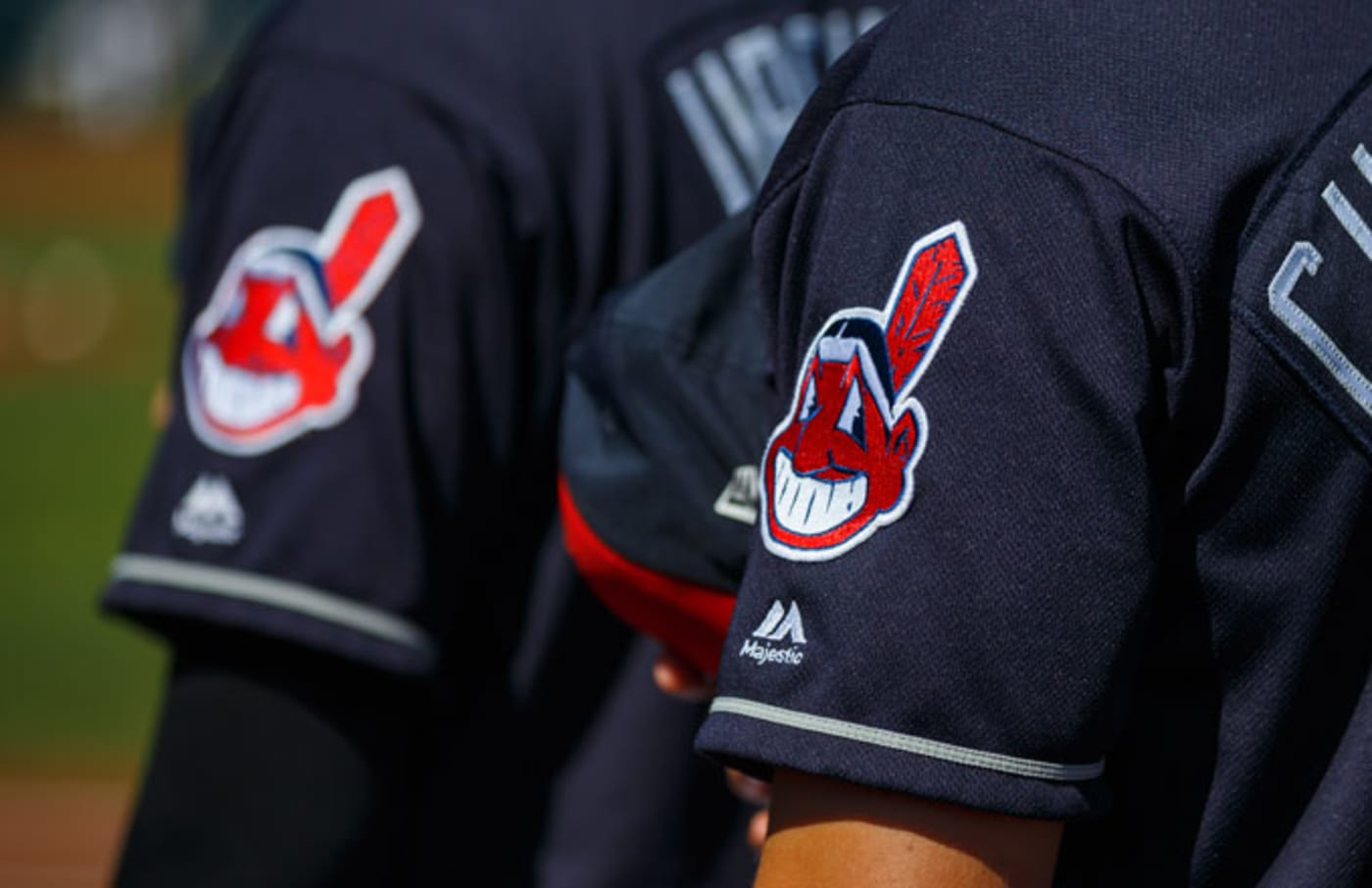 The Cleveland Indians stand for the National Anthem prior to a Spring Training game.
