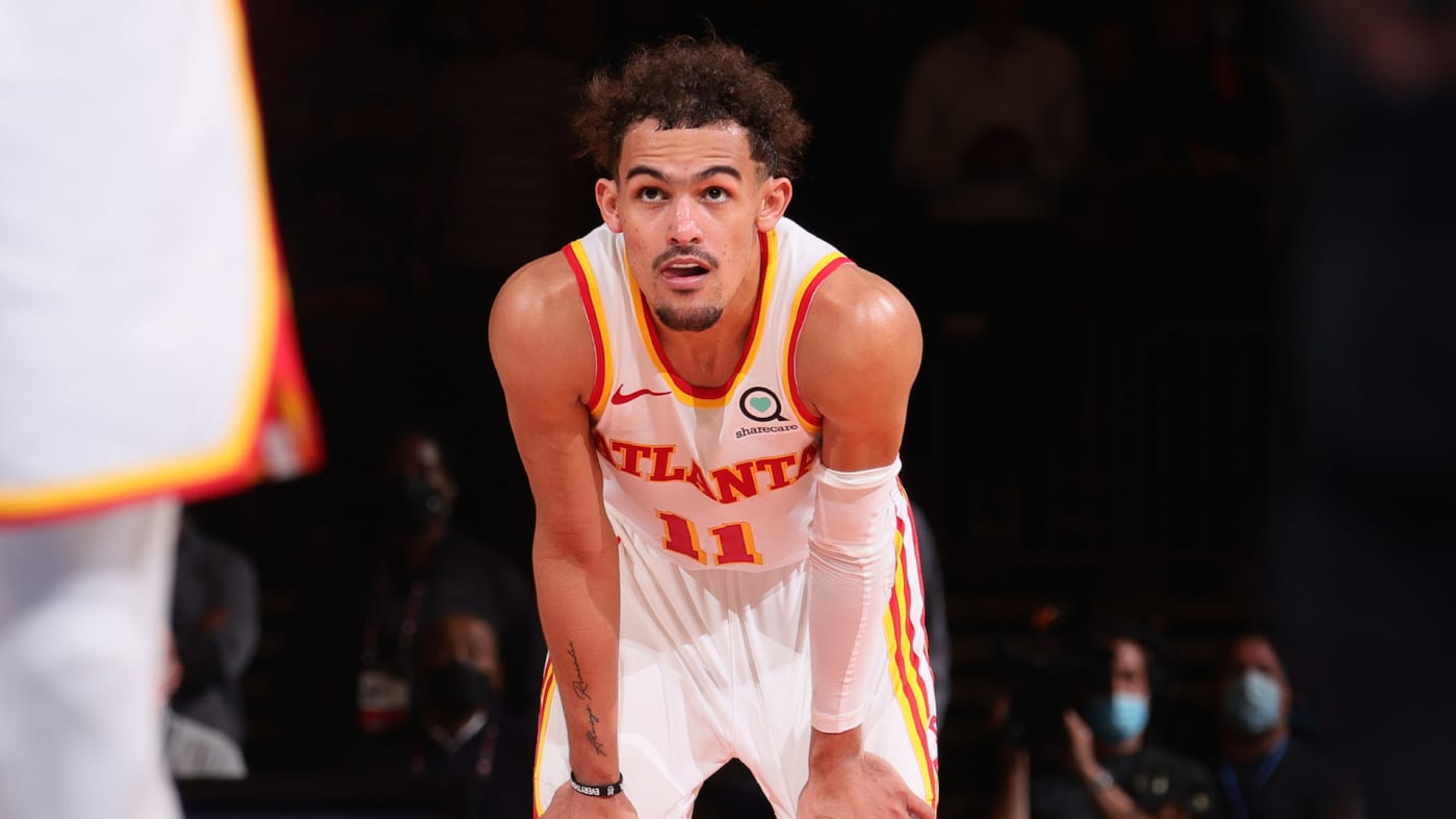 Trae Young #11 of the Atlanta Hawks looks on