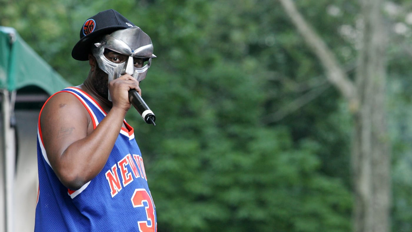 MF DOOM performs at a benefit concert for the Rhino Foundation.