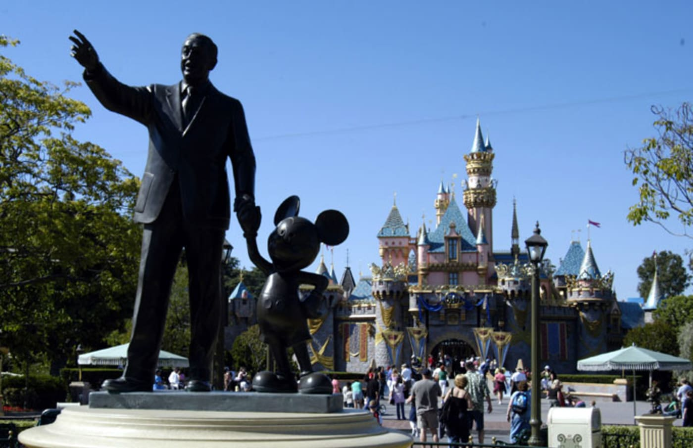 Walt Disney and Mickey statue at Disneyland.