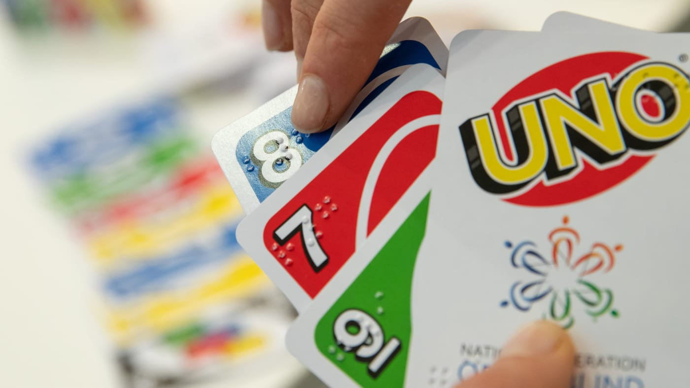 Mattel's Uno Braille card game printed with Braille.