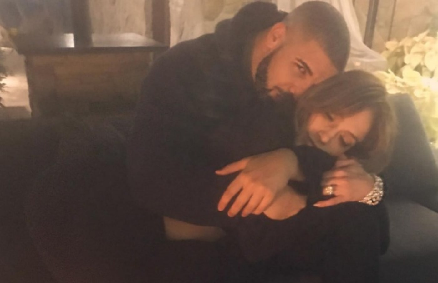 Drake and Jennifer Lopez pose for an Instagram photo.