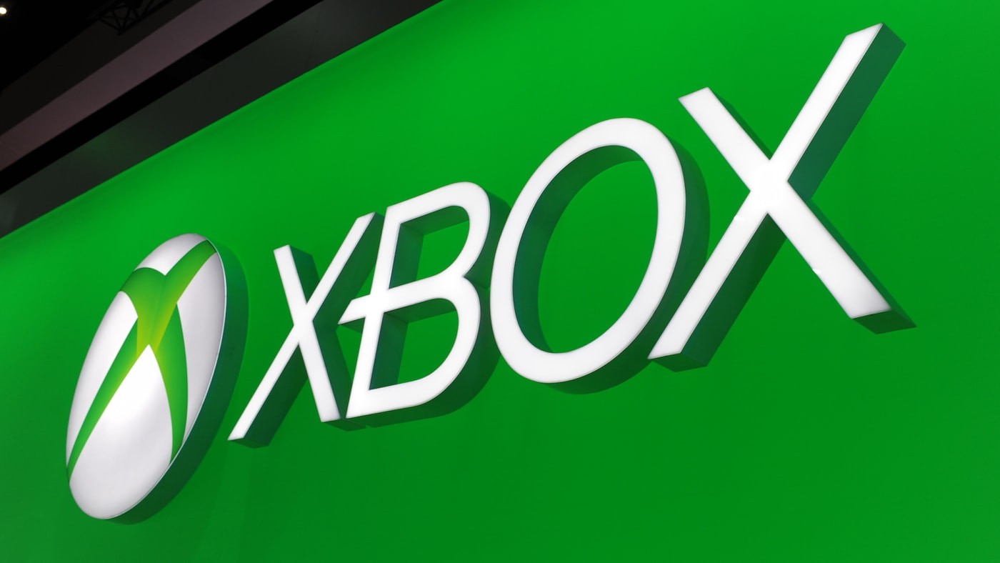 The Microsoft Xbox One logo is seen on the final day of the E3.