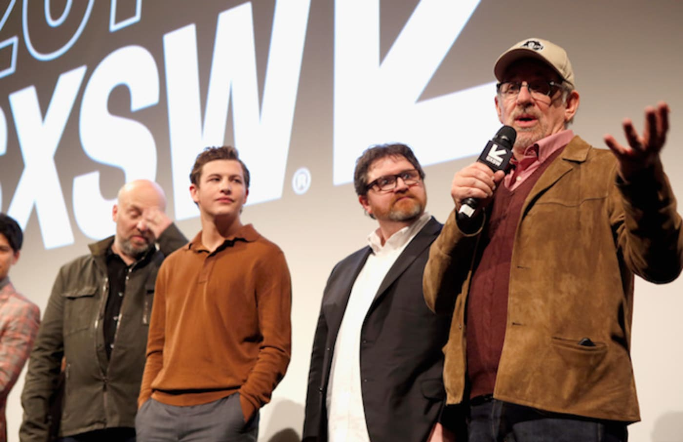 Zak Penn, Tye Sheridan, Ernest Cline, and Steven Spielberg at the premiere of 'Ready Player One.'