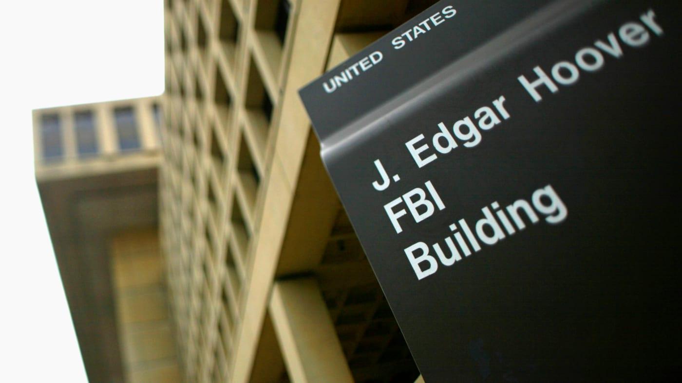 Sign outside the J. Edgar Hoover FBI Building in Washington, DC.