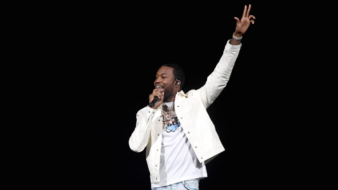 Meek Mill performs onstage during the EA Sports Bowl